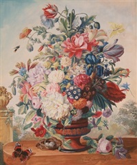 floral still life with butterflies and a bird's nest by friedrich (frederick) jüngling