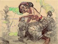 woman cowering by a pond by adrien jean le mayeur de merprés