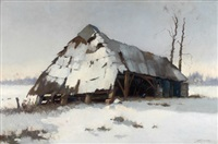 sheep pen in de winter by johan hendrik kaemmerer