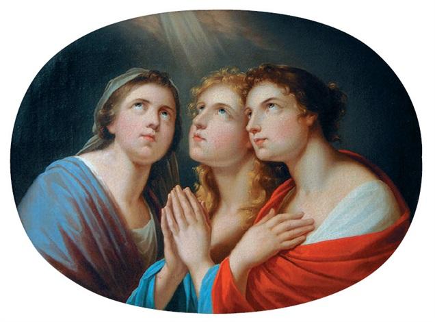 die andacht drei weibliche figuren in betender haltung den blick gegen den himmel gerichtet by friedrich heinrich füger