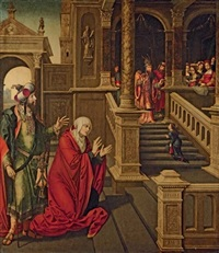 the presentation of the virgin in the temple with saints anne and joachim by pedro campana