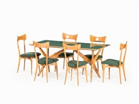 dining table with 6 chairs by ico parisi