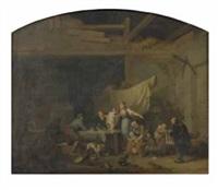 scène de vie familiale avec l'arrivée du colporteur (+ scène de la vie familiale avec le colporteur d'images; 2 works) by jacques-albert senave