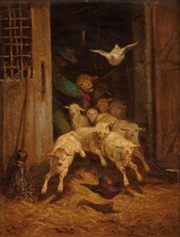a la porte de la bergerie by albert heinrich brendel