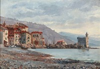 coastal scene from italy by august fischer