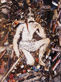 mars, god of war, after diego velazquez from pictures of junk series by vik muniz
