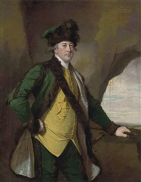 portrait of john whetham, of kirklington, in a bottle-green fur-lined jacket, yellow waistcoat and fur hat, a spear in his left hand, in a rocky landscape by joseph wright (of derby)