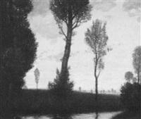 landschaft mit pappeln by fritz rehm