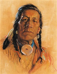 untitled - portrait of a plains indian by nicholas de grandmaison