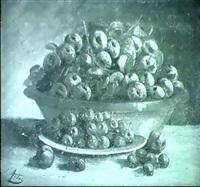 fruchtestilleben mit kirschen und pflaumen by v. artos