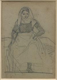 etude de paysanne assise by jean-baptiste-camille corot
