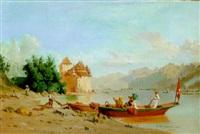 promenade en barque sur un lac suisse by girardot aine