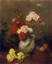 carnations in a vase, a garden beyond by gustave bienvetu