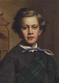 portrait of a boy in a grey coat and a sutherland tartan plaid, in an interior by george raphael ward