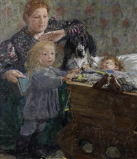 portrait of a mother and her children in the nursery by yuri il'ich repin