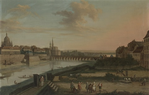 dresden from the right bank of the elbe below the augustus bridge at dresden from the right bank of the elbe above the augustus bridge pair by bernardo bellotto