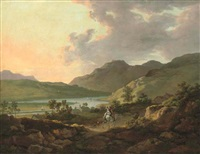 mountainous lake landscape with figures on a horse on a path in the foreground and boats on the lake beyond by william ashford