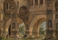 phantastische architektur bei mondlicht by johann friedrich morgenstern