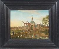 le pont à l'entrée d'une ville en hollande by paulus constantijn la (la fargue) fargue