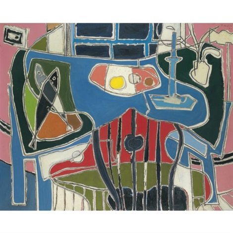 the blue table with window by patrick heron