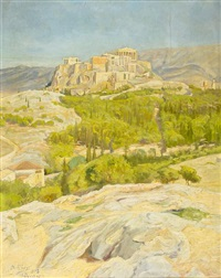 view of the acropolis by nikos xenos