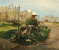 scenery with fishings nets drying in the sunshine by carl frederik peder aagaard