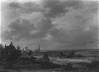 an extensive landscape with farmers working in the fields, arnhem with the eusebius church beyond by abraham-johannes couwenberg