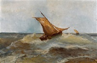 deux voiliers en mer by alfred godchaux