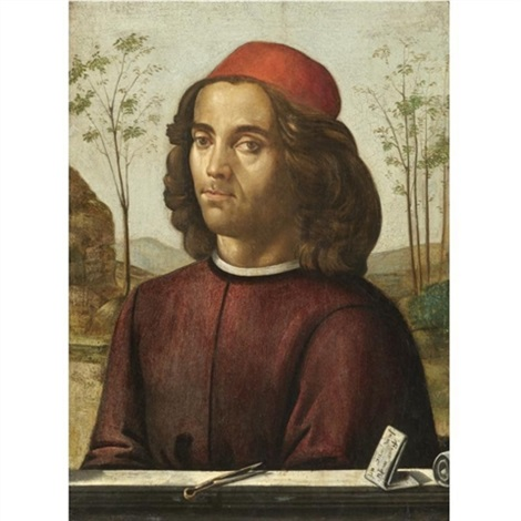 portrait of a gentleman head and shoulders wearing a crimson tunic with a pair of dividers on a stone ledge by domenico ghirlandaio