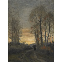 walking down the pathway by william edwin atkinson