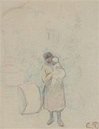 femme et enfant by camille pissarro