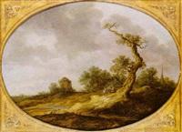 paysage animé avec villageois conversant près d'un arbre by maerten fransz van der hulst