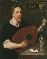 portrait of a gentleman (nicholas lanier?) seated, playing a lute, with a statuette of the belvedere antinous by anglo-flemish school (17)