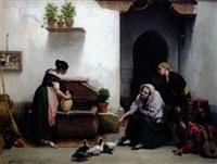 famille espagnole près d'une fontaine by gerritt postma