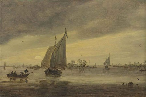 sunrise over the haarlemmermeer with a schmalship and other boats by jan josefsz van goyen