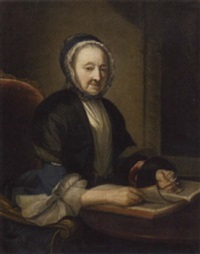 portrait of a lady in a blue dress and a black lace-trimmed wrap, holding a pair of glasses, reading in an interior by henry pickering