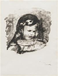 claude renoir, la tete baisee (from l'album des douze lithographies originales) by pierre-auguste renoir