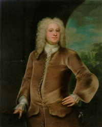 portrait of miles branthwayt in a brown coat and waistcoat, holding a hat, a landscape beyond by john theodore heins sr.