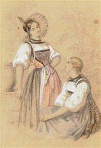 deux villageoises conversant by héloïse suzanne colin leloir