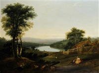 extensive wooded landscape with cottage beyond by william (of plymouth) williams