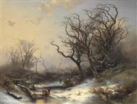 wood gatherers in a snowy landscape by pieter lodewijk francisco kluyver