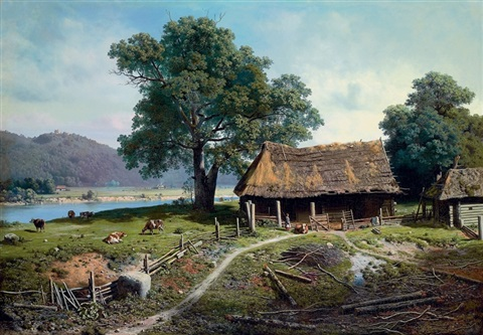 a riverside farm by mikhail petrovich baron klodt von jurgensburg