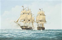 the engagement between u.s.s. constitution and h.m.s. guerriére, 19th august 1812 by john bentham-dinsdale