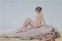 nude girl sunbathing on a rock by lewis baumer