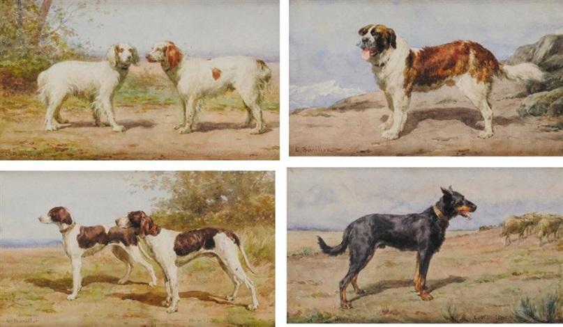chien st bernard chien berger de beauce couple de braques dauvergne et couple depagneuls bretons 4 works by léon barillot