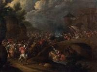 charge de cavalerie sur un pont by lambert de hondt