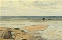 coastal scenery with boulders on the beach by janus andreas barthotin la cour