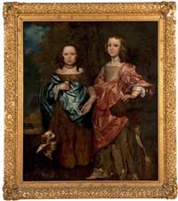 portrait de deux enfants et leurs chiens by william gandy