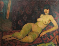 nude lying by gabor miklossy