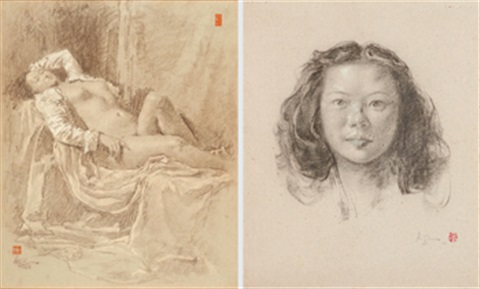 a. nude b. portrait (2 works) by lee man fong